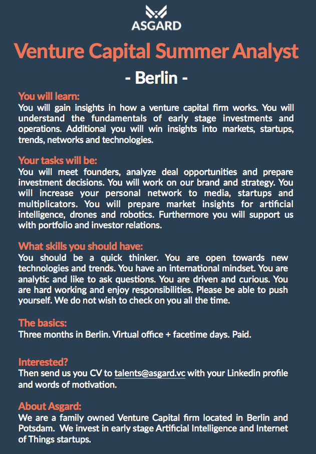 Venture Capital internship Berlin